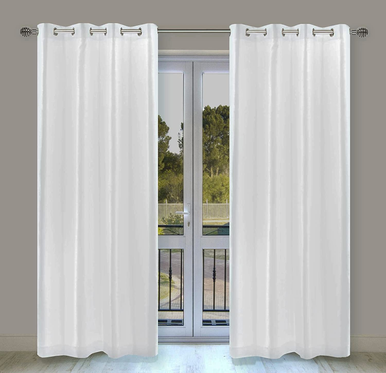 LJ Home Fashions 29 Silkana Faux Silk Grommet Curtain Panels (Set of 2) 56  W x 88  L, White
