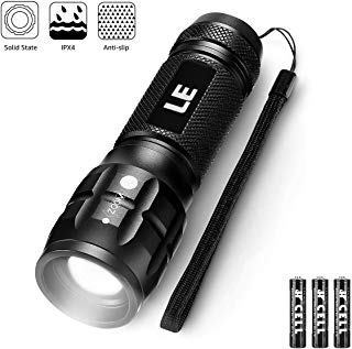 LE CREE LED Flashlight, Small and Super Bright LED Tactical Torch, Handheld Flash Light, Zoomable, Water Resistant, Adjustable Brightness for Camping, Running, AAA Batteries Included