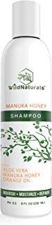 Wild Naturals Sulfate Free Shampoo : With Manuka Honey + Aloe Vera, For Hair Loss, Thinning Hair, and Itchy Dry Scalp. Anti Dandruff, Moisturizing, 98% Natural, 80% Organic Healing Plant-Based Formula