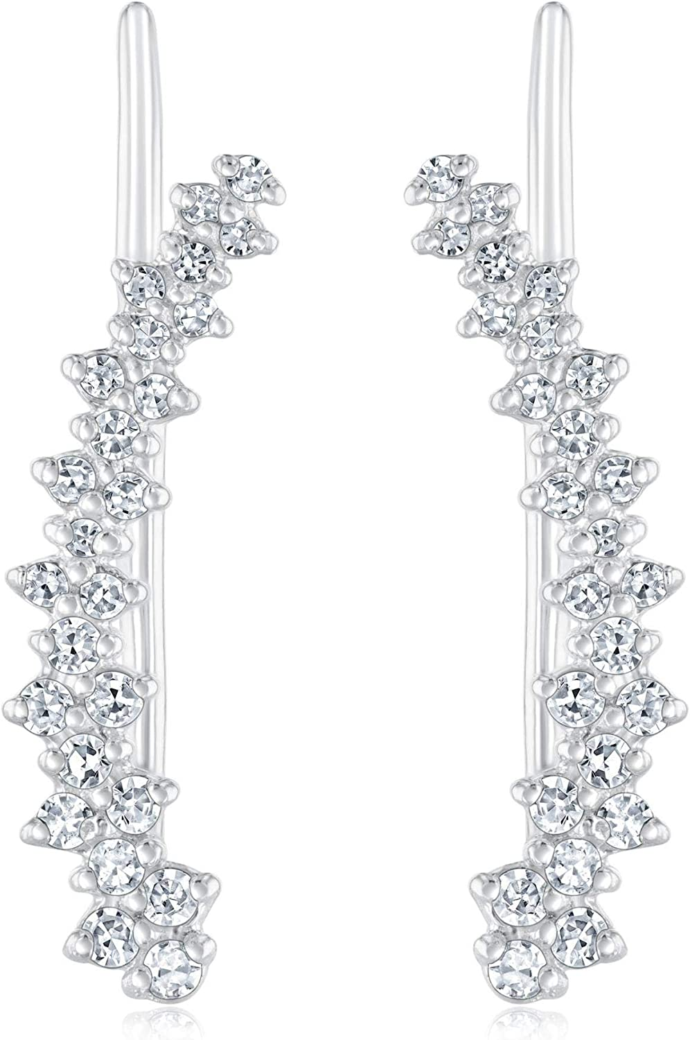 White Gold Diamond Cluster Curved Climber Earrings 1/4ctw