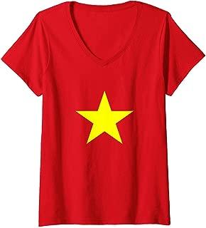 Womens Vietnam Flag TShirt Co Do Sao Vang Vietnamese Flags V-Neck T-Shirt