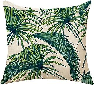 Outflower - Funda de cojín con diseño de hojas tropicales, flores y pájaros, 45 x 45 cm (B)