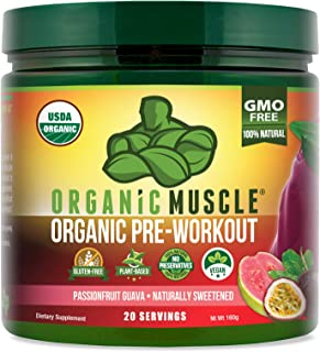 ORGANIC MUSCLE #1 Rated Organic Pre Workout Powder– Natural Vegan Keto Pre-Workout & Organic Energy Supplement for Men & Women- Non-GMO, Paleo, Plant Based – Passionfruit Guava - 160g