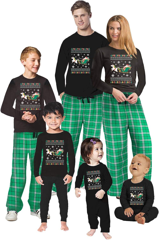 Awkward Styles Christmas Pajamas for Family Xmas Santa with Unicorn Matching Christmas Sleepwear Men PJ Set Style 2 XL