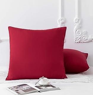 MOHAP Lot de 2- Taies d'oreiller 65x65cm Rouge Vineux Housse d'oreiller avec Une Fermeture éclair en Microfibre