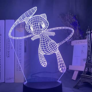 3D Led Night Light Lamp Pokemon Mew Figure Nightlight for Kids Bedroom Decoration USB Touch Sensor Hologram Light Lamp Bed...