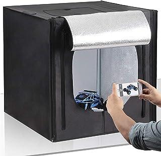 Amzdeal Caja de Fotografía Caja de Luz Portátil 50 x 50 x 50 cm para Hacer Fotos con 3 Fondos(Blanco/Negro/Naranja)+ 2 Tiras de LED y Bolsa de TransporteNueva versión