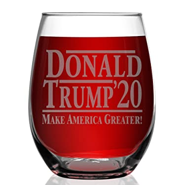 Shop4Ever Donald Trump 2020 Make America Greater Laser Engraved Stemless Wine Glass ~ Presidential Patriot MAGA Donald Trump for President ~ (15 oz.)