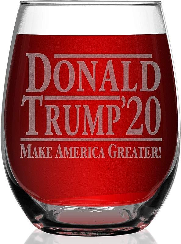 Shop4Ever Donald Trump 2020 Make America Greater Laser Engraved Stemless Wine Glass Presidential Patriot MAGA Donald Trump For President 15 Oz