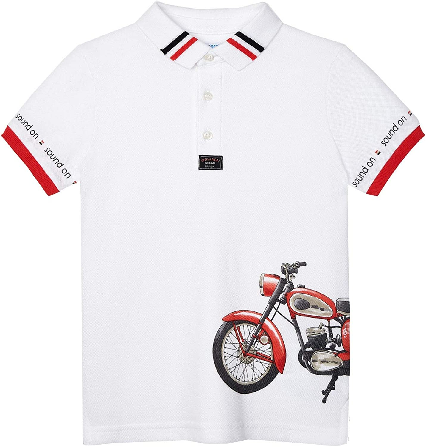 Mayoral - Printed s/s Polo for Boys - 3107, White
