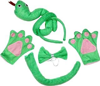 Petitebelle Verde Serpiente Diadema Pajarita Cola Guantes 4Piezas Los niños Disfraz cumpleaños o Fiesta