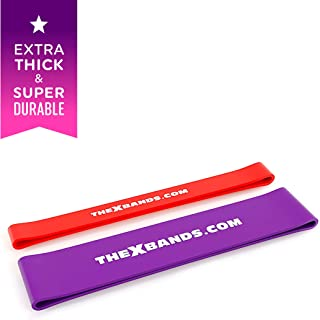 The x Bands Extra Thick Exercise Resistance Bands - Set of 2 or 5 Loop Booty Bands with Guide - Fitness Workout 15 to 80 lb - Best for Stretching, Yoga, Legs Training, Physical Therapy