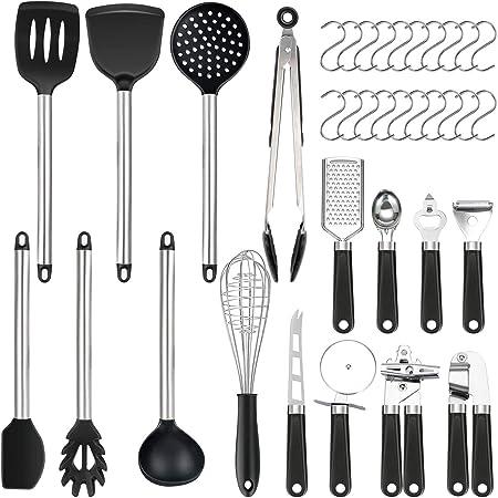 Set di 36 utensili da cucina | in silicone antiaderente resistente al calore | Set di spatole in silicone | Utensili da cucina con manico in acciaio inossidabile