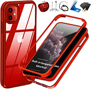 UBUNU iPhone 11 Case with Built-in Tempered Glass Screen Protector, 360 Full Body Heavy Duty Shockproof Dual Layer Rugged Silicone Rubber Bumper Protective Clear iPhone 11 Cases 6.1 inch - Red