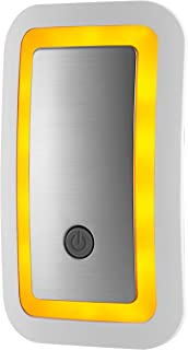 GE Enbrighten SleepLite LED Amber Night Light, Plug, Dusk-to-Dawn Sensor, Melatonin, Natural Sleep, Ideal for Bedroom, Nursery, Bathroom, 36244, 1 Pack, Brushed Nickel | High/Low