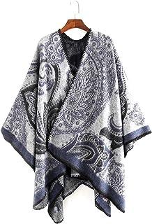 Color Matching Women Shawl Winter Wrap, Oversized Blanket Scarves, Poncho Cape Shawl Cardigans Sweater Coat