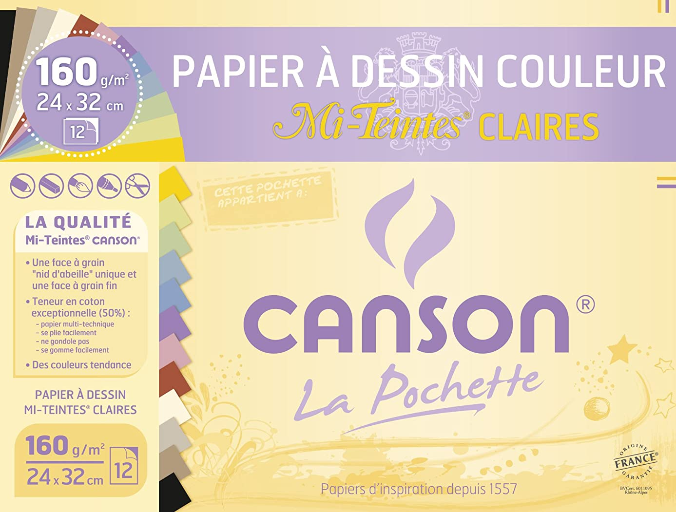 Canson 2789-ASS Pouch 12 Sheets of Drawing Paper 160 g / 24 x 32 cm Assorted Pastel Colours