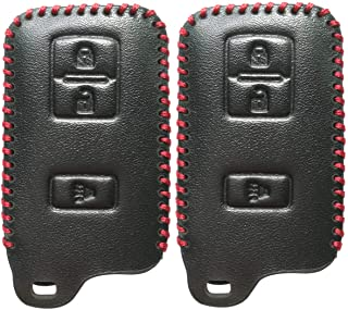 2Pcs Coolbestda Smart Leather Key Fob Cover Case Keyless Entry Holder Skin Jacket for 2018 2017 2016 Toyota Tacoma Land Cruise Prius V RAV4 HYQ14FBA