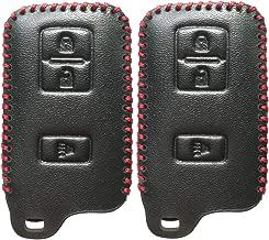 2Pcs Coolbestda Smart Leather Key Fob Cover Case Keyless Entry Holder Skin Jacket for 2018 2017 2016 Toyota Tacoma Land Cruise Prius V RAV4 HYQ14FBA