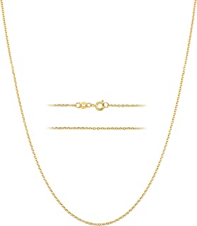 BEBEWO 18K Yellow Gold 1mm, 1.2mm, 1.35mm Width Gold Cable Chain Necklace for Women, Solid Gold Spring Clasp O Cable Chain...