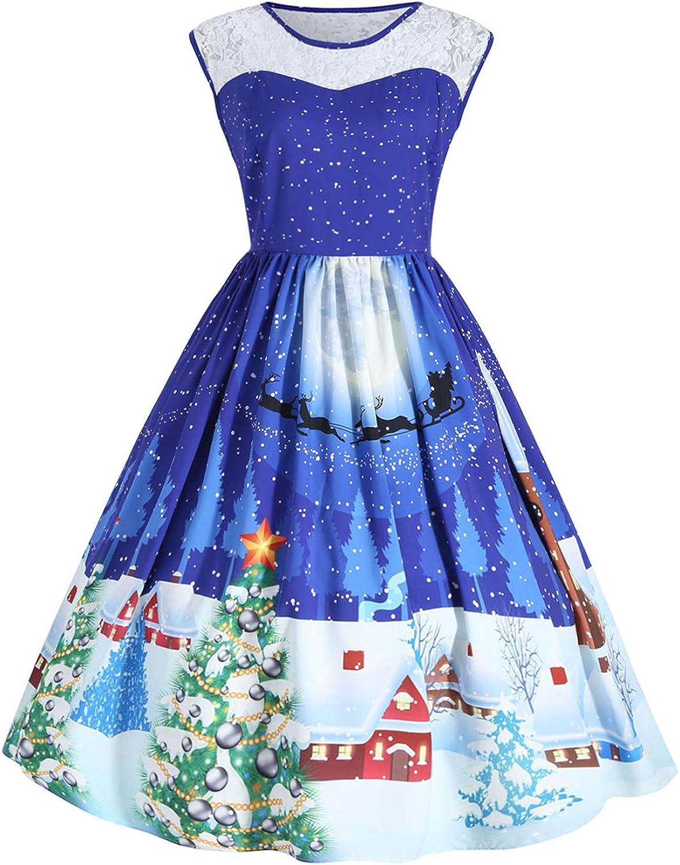 NEWISTAR Donna Vestiti di Natale Taglie Forti Elegante Vintage Abiti da Santa Natale Party Festa Matrimonio Cocktail Swing Vestito