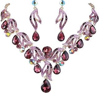 Clearine Women's Bohemian Boho Bridal Crystal Flower Teardrop Pendant Necklace Dangle Earrings Set