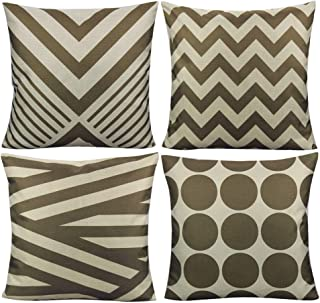All Smiles Outdoor Coffee Chocolate Color Throw Pillow Covers Cases Home Decor Accent Cushion 18x18 Decorative for Couch Patio Sofa Set of 4,Geometric