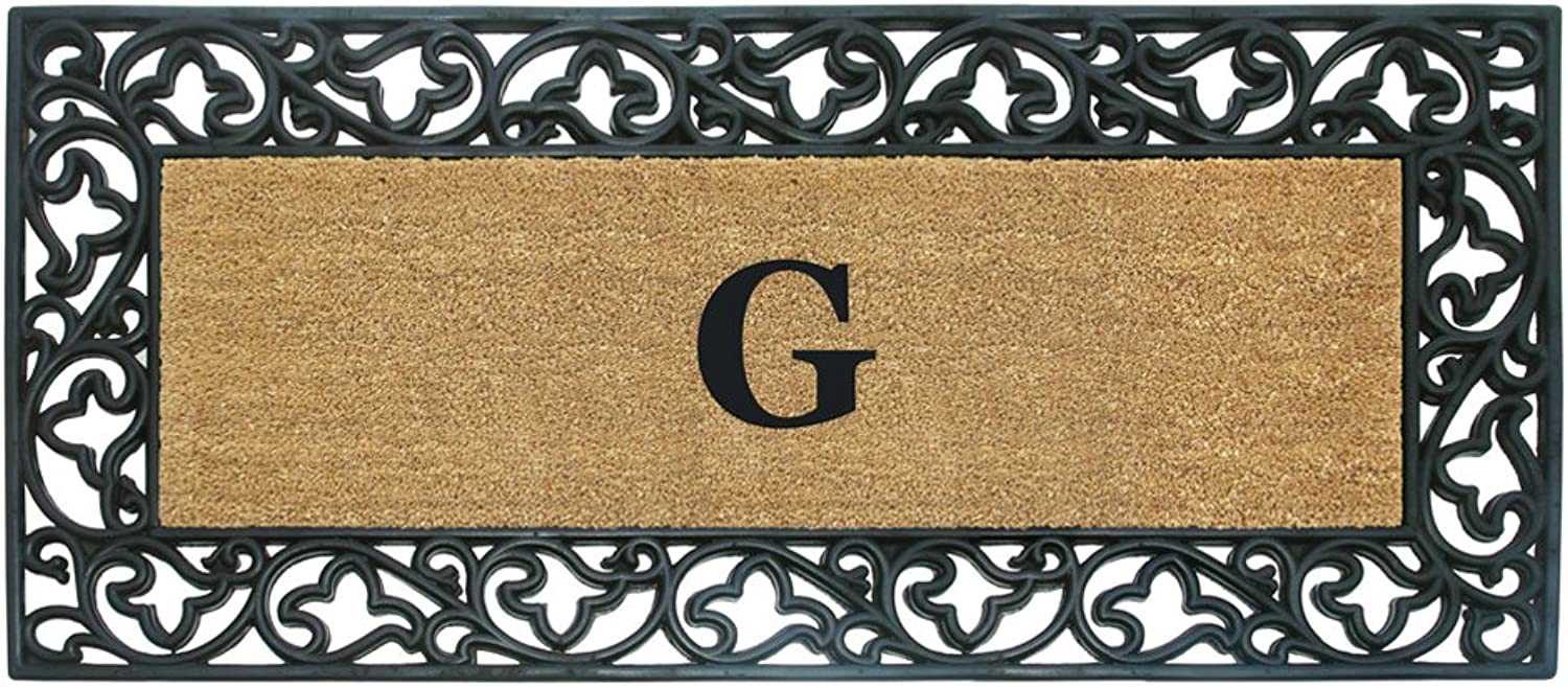 Nedia Home Acanthus Border with Rubber Coir Doormat, 24 by 57-Inch, Monogrammed G