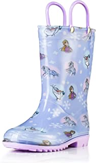 Disney Frozen 2 Girls Anna, Elsa and Olaf PVC Waterproof Licensed Rain Boots Easy-On Handles - Pink and Purple - Toddler a...