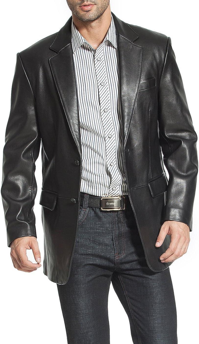 BGSD Men's Steven Classic 2-Button Leather Blazer Lambskin Sport Coat Jacket Black Big and Tall 2XLT