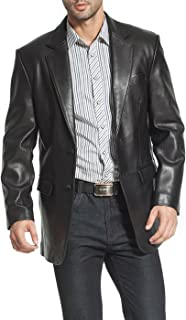 BGSD Men's Steven Classic Leather Blazer Lambskin Sport Coat Jacket (Regular, Big & Tall and Short)