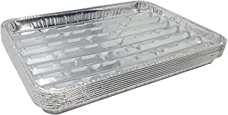 Pack of 25 Disposable Aluminum Broiler Pans – Good for BBQ, Grill Trays – Multi-Pack of Durable Aluminum Sheet Pans – Ribbed Bottom Surface - 13.40