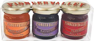 Pioneer Valley Gourmet Mini Jam Sampler Variety 3 Pack 1.5oz Each - Black Raspberry, Harvest Peach Cobbler, Strawberry