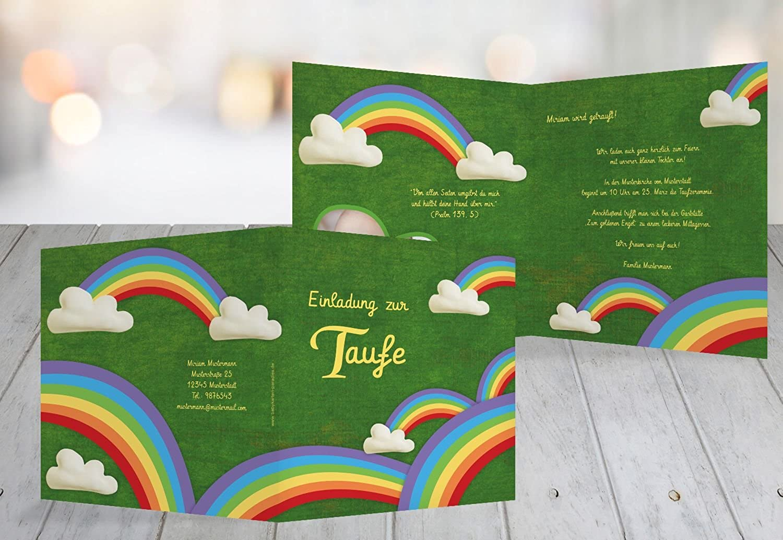 Kartenparadies Einladungskarte Taufeinladung Taufkarte Taufkarte Taufkarte Regenbogenfantasie, hochwertige Einladung zur Taufe inklusive Umschläge   10 Karten - (Format  145x145 mm) Farbe  Blattgrün B01N9XB1FJ | Merkwürdige Form  | Wir haben von unseren Kunden Lob 74e2b1
