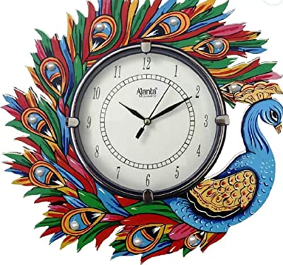 Ajanta Analog 33 cm X 33 cm Wall Clock (Blue, Green, Red, with Glass)