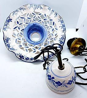 Lampadario Traforato diametro 25 centimetri + Coppetta da applicare a soffitto Linea Fiori Bordo Blu Ceramica Le Ceramiche...
