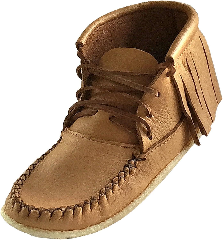 Bastien Industries Women's Fringe Moose Hide Leather Crepe Sole Ankle Moccasin Boots Maple Tan