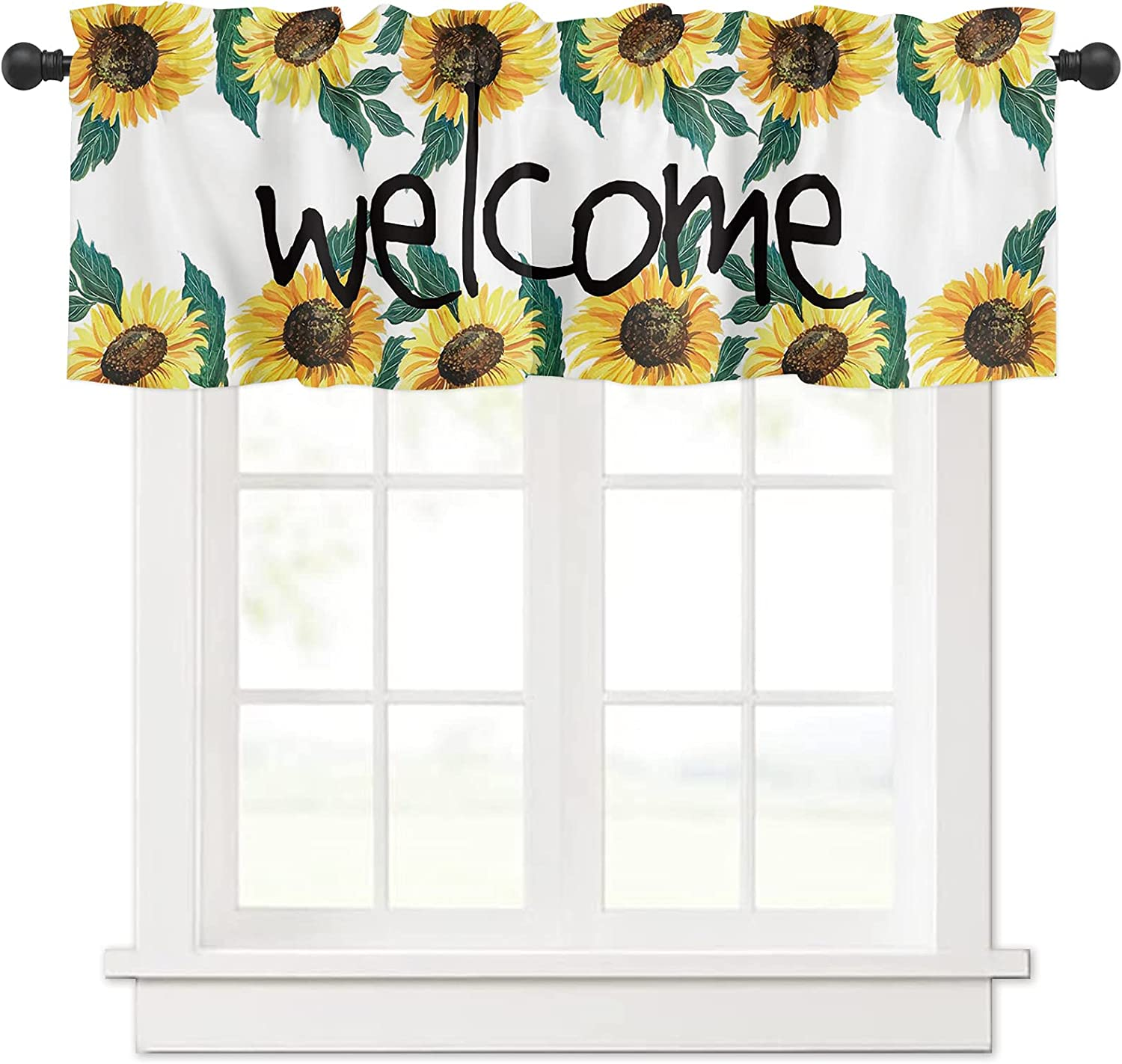 Welcome Retro overseas Sunflowers Watercolor for Curtain Windows Valances Super-cheap