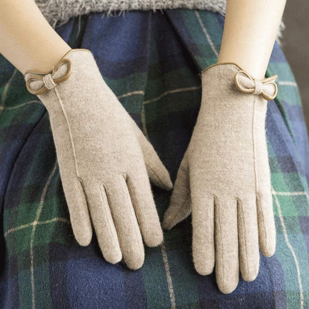 Zcx Solid Color Simple Thin Five-Finger Gloves Female Autumn and Winter Simple Bow Gloves (Color : Khaki, Size : One Size)