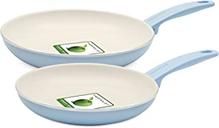 GreenLife Cambridge Induction Pro Ceramic Nonstick Oven Safe Dishwasher Safe 9.5-Inch 11-Inch Frypan Cookware Set, 2-Piece, Light Blue