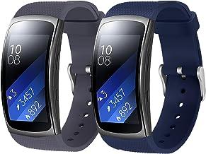 Rukoy Correas Samsung Gear Fit 2 Band/Gear Fit 2 Pro [Paquete de 2: Blue + Gray], Accesorios para Baterías de Repuesto para Samsung Gear Fit2 Pro SM-R365/Gear Fit2 SM-R360 Smartwatch (5.9