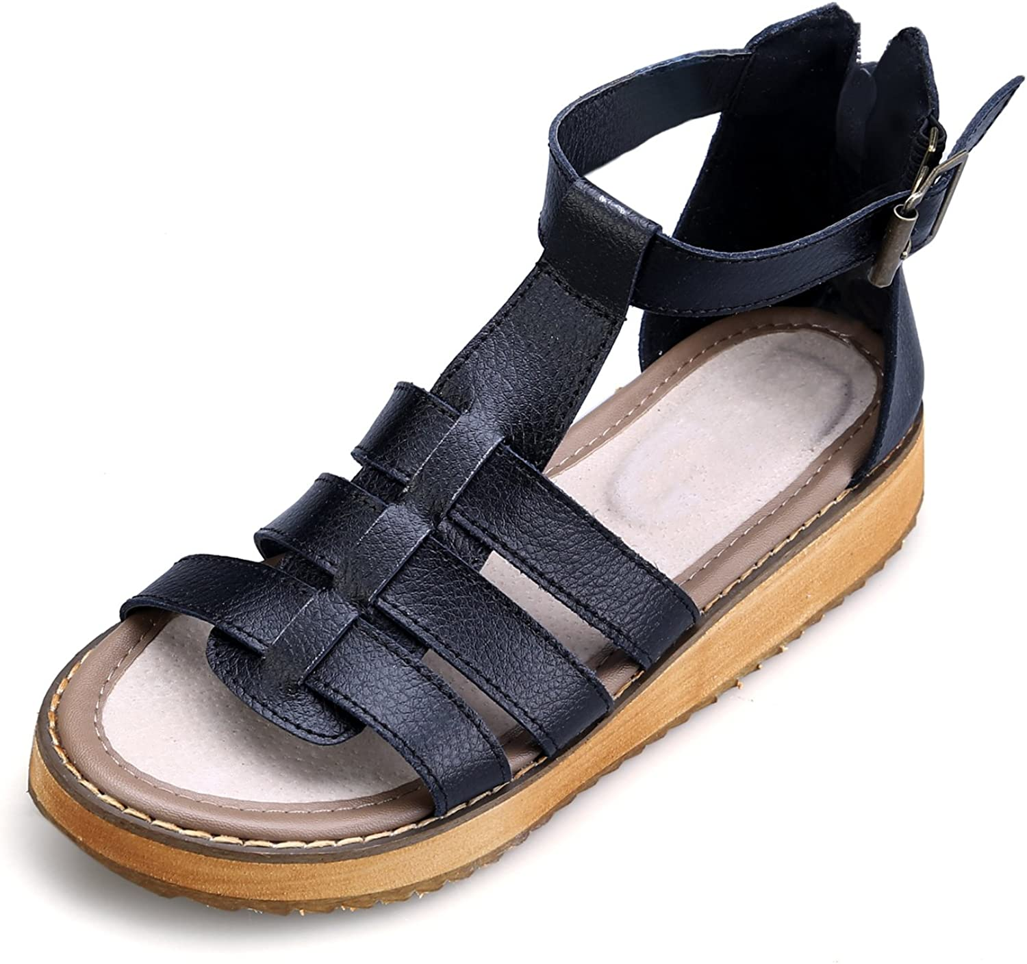 Smilun Lady's Sandal T Strap Strappy Sandal Zipper Wedge Sandals