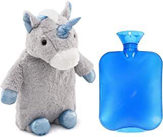 HomeTop Premium Classic PVC Hot Water Bottle with Cute Unicorn Cover (2L, Gray)