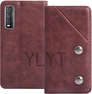 YLYT Business Shockproof - Red Flip Leather Retro Cover With Stand Wallet Case For Vivo Y70t 6.53 inch With Card Slots