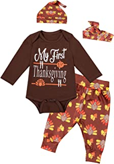 Yruiz 4PCS Baby Boys Girls Clothes My First Thanksgiving Outfit Set Turkey Cute Pant with Hat