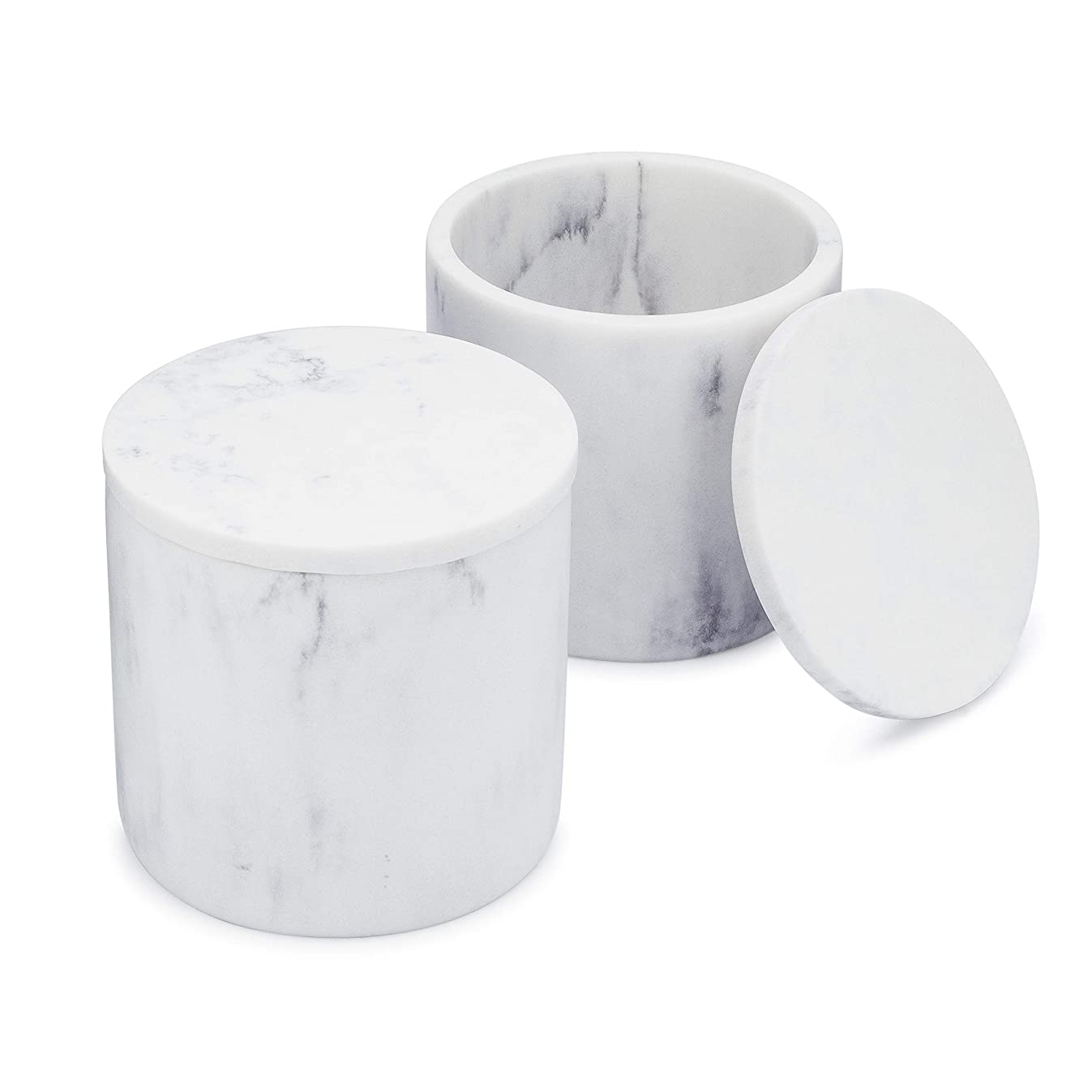 EssentraHome White Jar with Lid for Vanity Countertops, Container from Blanc Collection. Set of 2.