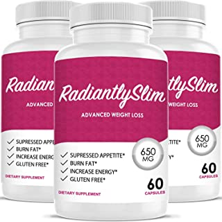 Radiantly Slim Pills for WeightLoss - Advanced Weigh Loss Supplement - Quicker Fat Burn - Carb Blocker (3 Month Supply)