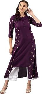 Janasya Women's Purple Poly Silk Kurta
