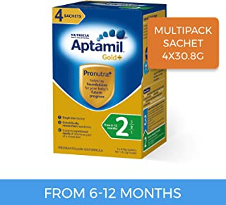 Aptamil Gold+ Follow-on Formula Multipack Stage 2 Sachet, 4 Pack, 123.2g