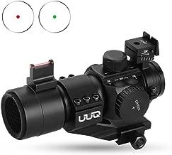 UUQ 1X30 Green & Red Dot Sight for Rifles & Shotguns W/Top Fiber Optic Sight & Picatinny Cantilever PEPR Mount